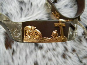 Showman GOLD PRAYING COWBOY Antique Brown  SILVER Show SPURS Womens Size