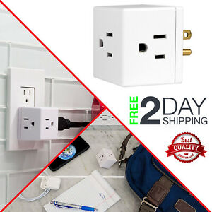 Wall Socket Grounded 3 Prong Outlet Tap Adapter Electric Multi Plugs Divider GE