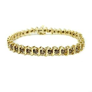 10k Yellow Gold 4.2ct Champagne Diamond S Curve Tennis Bracelet 7.25 Inches