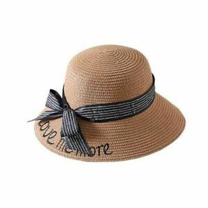 Women's Embroidery Letter Boater Hat Summer Ribbon Round Bow Flat Top Wide Brims