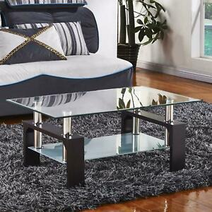 New Black Rectangular Glass Coffee Table Shelf Wood Chrome Living Room Furniture