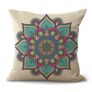 lotus flower mandala yoga meditation cushion cover decorative throw