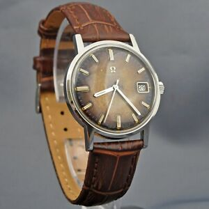 VINTAGE GENUINE OMEGA GENEVE SPECIAL TROPICAL DIAL AUTOMATIC DATE SS GENTS WATCH
