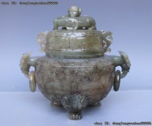 China Folk Old He Tian Jade Nephrite Carving Tripod Ding Incense burner Censer