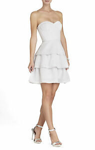 BCBG MAXAZRIA Jacklyn Tiered-Ruffle Sleeveless Dress Lightpearl Size 2 #358 NWT