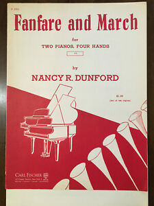 Two Piano Four Hands FANFARE AND MARCH by Nancy Dunford $9.00