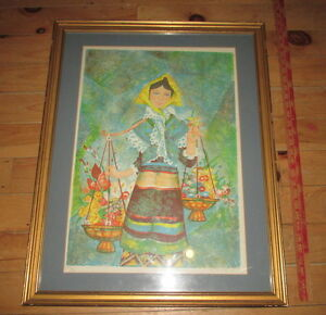 G Portales Flower Vendor Lithograph Art Print Hand signed Framed beautiful Large $49.99