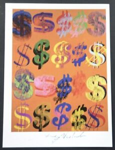 """Andy Warhol Special Print """"Dollar Signs"""" (orange background). Hand Signed COA."""