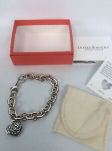 James Avery  sterling Silver 925 Heart Locket Charm Bracelet