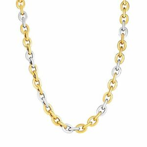 14K White & Yellow Gold Rounded Chain Link Necklace Lobster Clasp