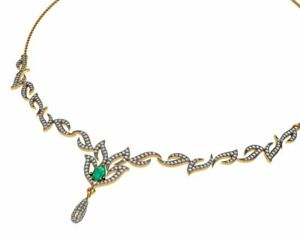Emerald Pave Diamond Designer Necklace 18k Yellow Gold Valentines Day Jewelry
