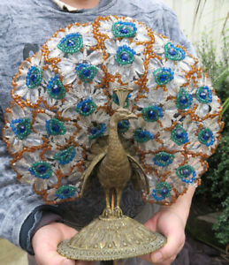 Antique Vintage Czech glass gilt Bronze Peacock Lamp beaded Bodouir brass bird
