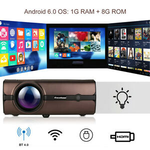 Excelvan 1080P Home Theater Cinema Android 6.0 Wireless LED Projector HDMI 8GB
