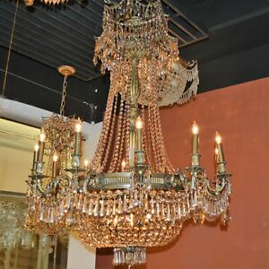 USA Winchester 18 Light Antique Bronze with Golden Teak Crystal Chandelier Large