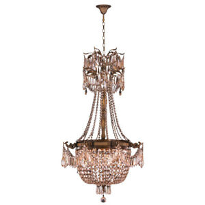 USA Winchester 4 Light Antique Bronze w Golden Teak Crystal Chandelier Medium