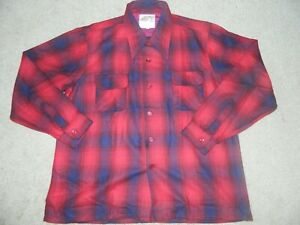New NOS Vtg 70s Herters Herterton Wool Shadow Plaid Loop Collar Board Shirt XL