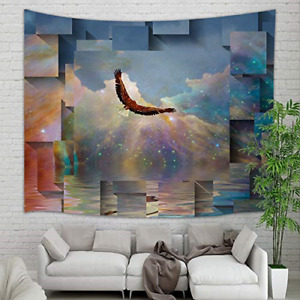 NYMB Fantasy Animals Tapestry Wall Hanging Eagle Flight in Universe Galaxy with