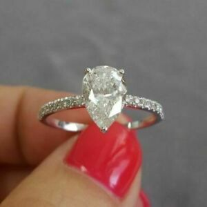 Solid 10k White Gold 1.50ct Pear & Round Cut Diamond Engagement Wedding Ring