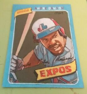 Baseball Art Card ORIGINAL of Andre Dawson 80. 1 1 Acrylic painting. ACEO $30.00