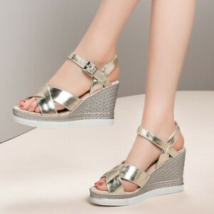 Womens Ladies Fashion Metallic Shiny Ankle Strap Wedge Beach Sandals Shoes SKSS
