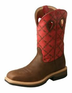 Twisted X Work Boots Mens Lite Cowboy Work Boots Waterproof Flash Red MLCWW04