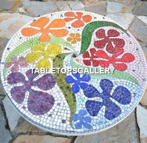 55'' Unique Marble Table Top Mosaic Gems Inlay Stone Art Office Decorated H3991B
