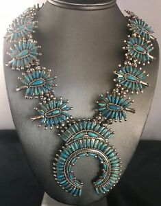 Vintage Sterling Silver Squash Blossom Turquoise Necklace By D N Begay