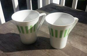 Midcentury Porcelain Coffee Mugs White with Apple Green Stripes