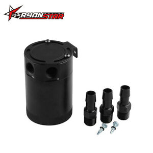 2 Port Oil Catch Can Tank Compact Baffled Air-Oil Separator Black Universal