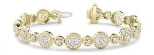 NEW 14K YELLOW GOLD AND DIAMOND VINTAGE DESIGN CIRCLE BRACELET JEWELRY 4.25cts