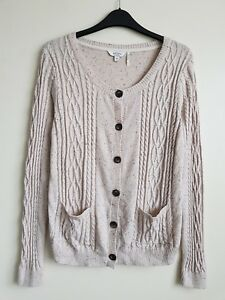 FAT FACE LADIES FINE CABLE KNIT CARDIGAN WITH CASHMERE 3% SIZE 10 HARDLY WORN