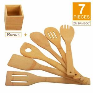 Bamboo Wooden 7 Piece Utensil Set FREE Holder Kitchen Cooking Spoons Spatula Kit