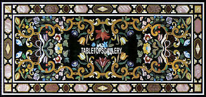 8'x4' Ancient Marble Dining Black Top Table Mosaic Floral Inlay Art Decor H3944A