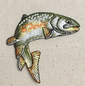 Fish Golden Trout Natural Fishing Camping Iron on Applique Embroidered Patch