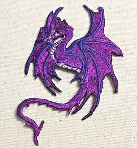Dragon Purple - Facing Left/Mythical/Fantasy Iron on Applique/Embroidered Patch