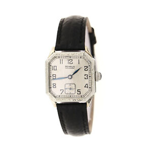 Benrus Wristwatch 14K White Gold Filled 1930's Shockproof 15 Jewel  35409