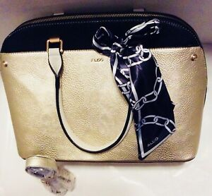 Aldo Gold Champagne Purse with Shoulder Strap and Scarf Women