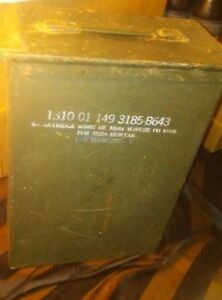 Vintage US Army Ammo Box 8-Cartridge 60mm HE M888 wFuze PD M935 for M224 Mortar