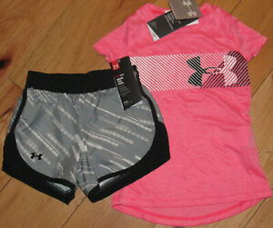 Under Armour logo top & gray black patterned shorts NWT girls' XS YXS