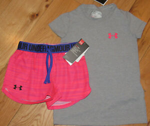 Under Armour gray logo top & pink patterned shorts NWT girls' XS YXS
