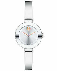 *BRAND NEW* Movado Women's Bold Stainless Steel Bangle Bracelet  Watch 3600284