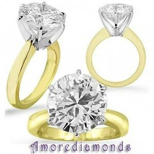 5.20 ct G VS2 round hearts&arrows natural diamond solitaire engagement ring gold