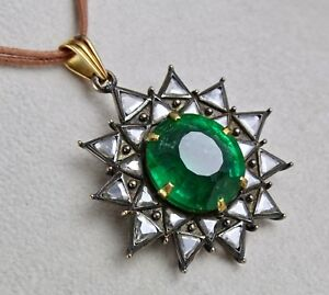 ANTIQUE ESTATE 40 CTS COLOMBIAN OVAL EMERALD OLD CUT DIAMOND PENDANT IN 18K GOLD