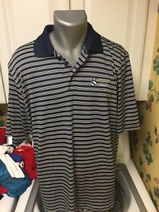 UNDER ARMOUR Golf Men's Large Polo Golf Shirt Blue Striped Polyester Otsego Club $13.00