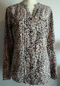 Laura Scott Blouse V-neck button front Long roll tab sleeve NWT