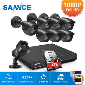 SANNCE 1080P HDMI 8CH DVR Indoor Outdoor Home Security Camera System 0-4TB HDD