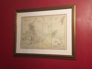 Antique Lithograph framed map of British Isles