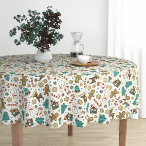 Round Tablecloth Gingerbread Christmas Cookies Snowman Winter Cotton Sateen