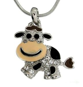 HAPPY COW CHARM CRYSTAL PENDANT SILVER CHAIN NECKLACE NWT $8.99