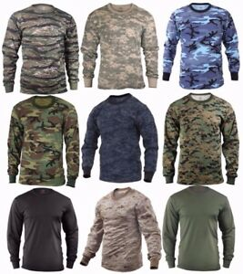 Rothco Military Tactical Long Sleeve Camo T Shirts Sizes: S 2XL $13.99